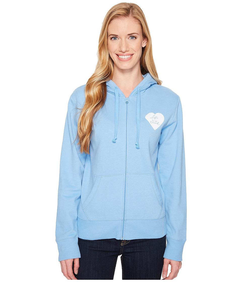 Life Is Good Print Pattern Heart Hooded Sweatshirt (Powde...