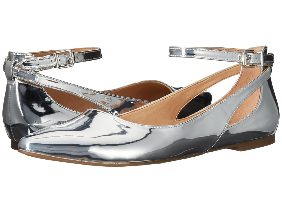 Vintage Style Shoes, Vintage Inspired Shoes Franco Sarto - Sylvia Silver Liquid Metallic PU Womens Dress Flat Shoes $88.95 AT vintagedancer.com