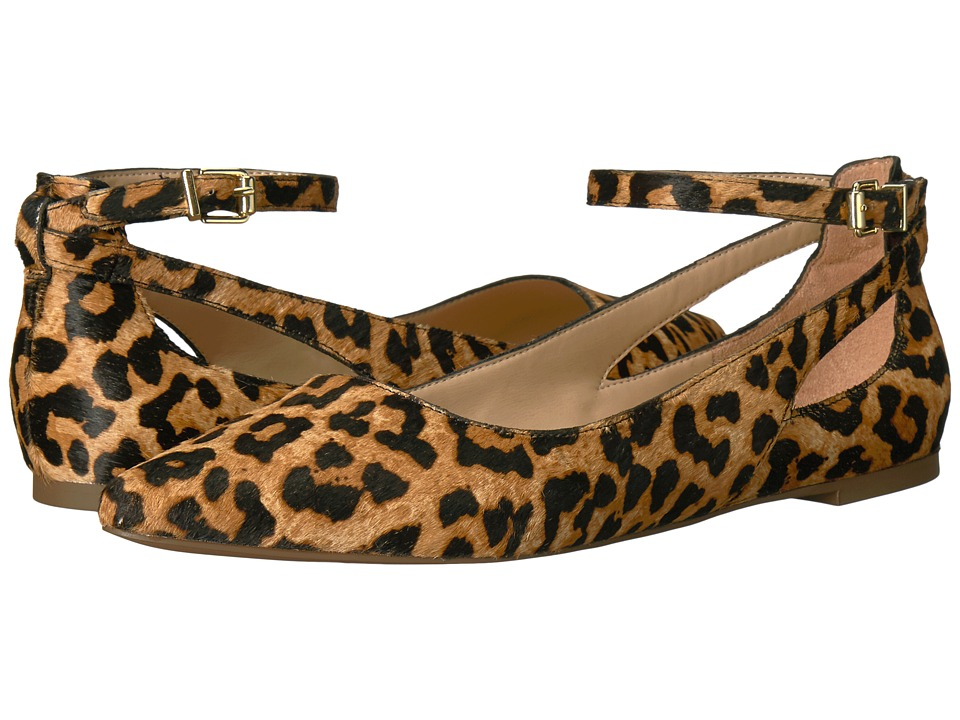 Retro Vintage Flats and Low Heel Shoes Franco Sarto - Sylvia Camel Leopard Pony Womens Dress Flat Shoes $98.95 AT vintagedancer.com