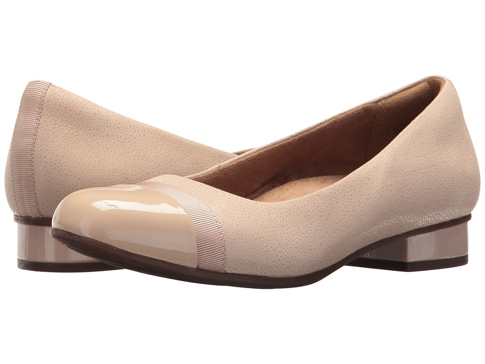 Clarks - Keesha Rosa (Nude Nubuck/Nude Patent Leather Combination) Womens 1-2 inch heel Shoes