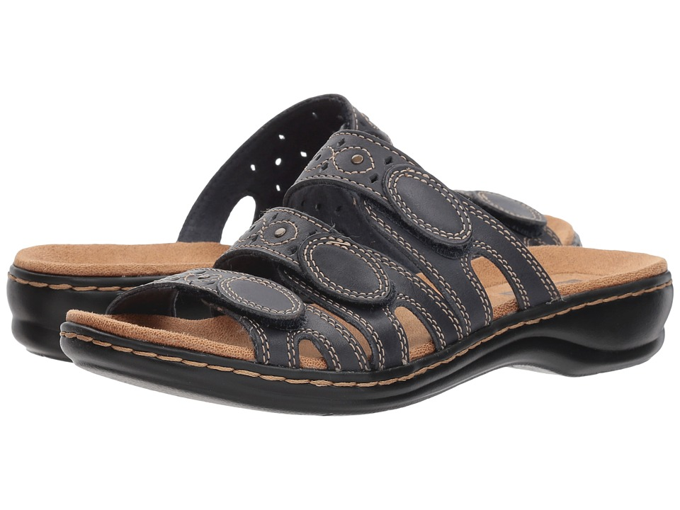 Clarks Leisa Cacti Q (Navy Leather) Sandals