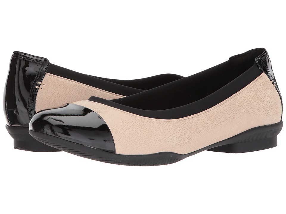 Clarks Neenah Garden (Blush Pink/black Patent leather) Flats