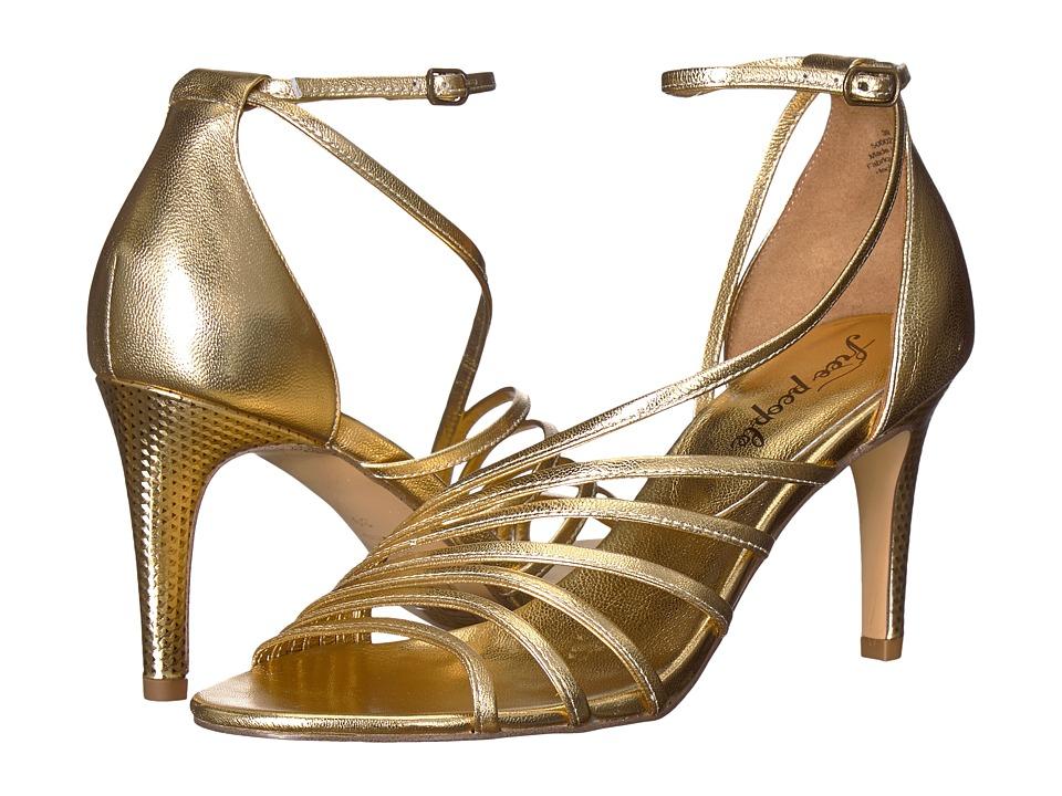 60s Shoes, Boots | 70s Shoes, Platforms, Boots Free People - Disco Fever Heel Gold High Heels $102.99 AT vintagedancer.com