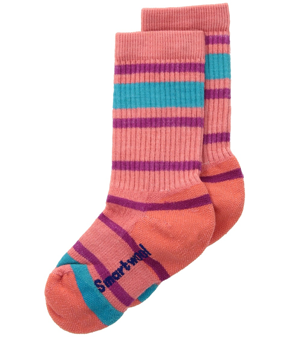 Smartwool Striped Hike Light Crew (Toddler/Little Kid/Big Kid) (Bright Coral) Crew Cut Socks Shoes