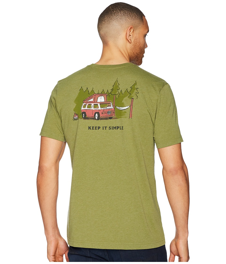Life is Good - Keep It Simple Camper Crusher Tee (Heather Tree Green) Mens T Shirt