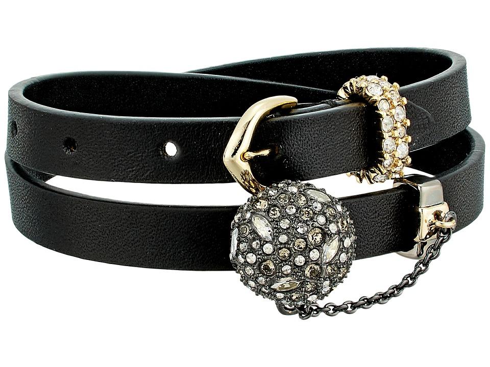 Alexis Bittar - Crystal Encrusted Ball Chain Double Wrap Leather Bracelet