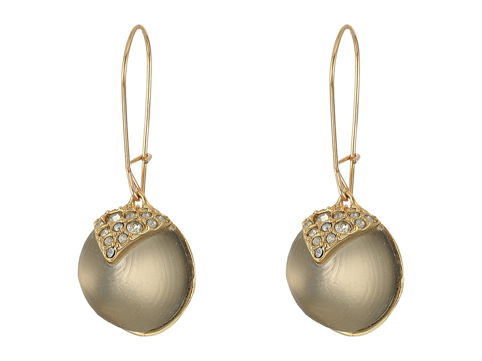 Alexis Bittar - Crystal Encrusted Origami Inlay Dangling Sphere Kidney Wire Earrings (Grey) Earring