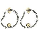 Alexis Bittar Crystal Encrusted Organic Hoop Post Earrings