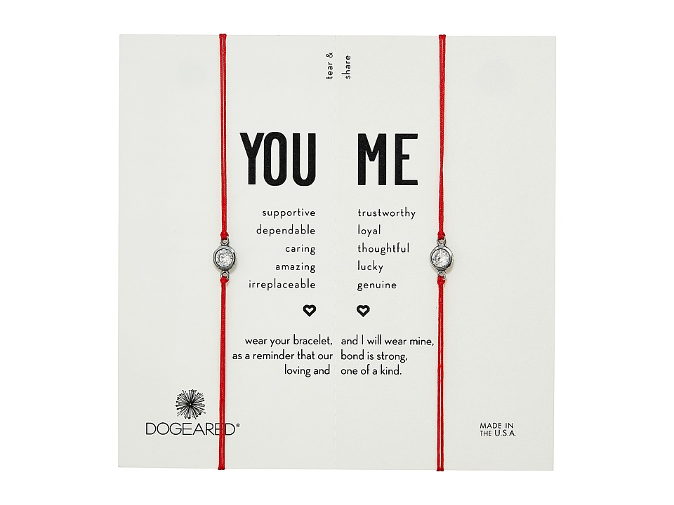 Dogeared - You + Me, Crystal On Red Cord Friendship Bracelets, Set of 2 (Sterling Silver/Red) Bracelet