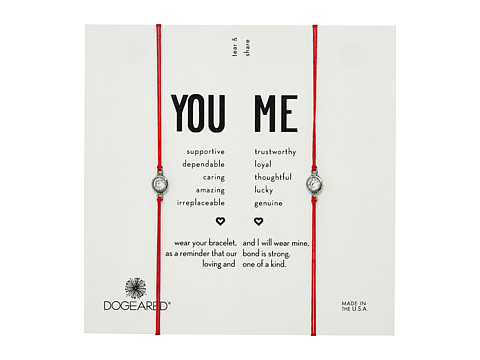 Dogeared You + Me, Crystal On Red Cord Friendship Bracelets, Set of 2 - Sterling Silver/Red