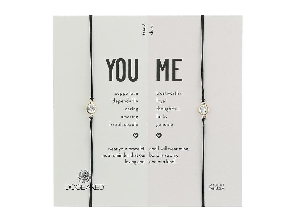 Dogeared - You + Me, Crystal On Black Cord Friendship Bracelets, Set of 2 (Gold Dipped/Black) Bracelet