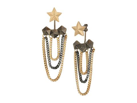 Steve Madden Star Hexagon Tassel Post Earrings - Silver