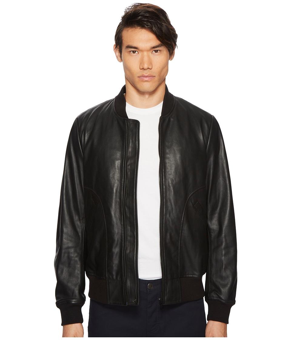 Paul Smith - Leather Bomber Jacket (Black) Mens Coat