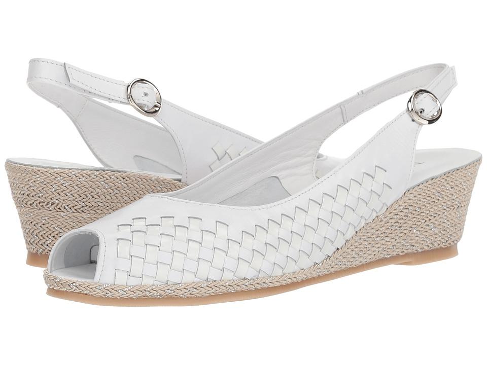 Vintage Sandal History: Retro 1920s to 1970s Sandals Sesto Meucci Mantie White NappaWhite PatentBeigeSilver Rope Womens Sandals $225.00 AT vintagedancer.com