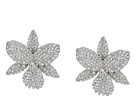 Nina Large Pave Orchid Clip Swarovski Crystals Earrings