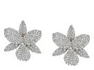 Nina Nina Large Pave Orchid Clip Swarovski Crystals Earrings