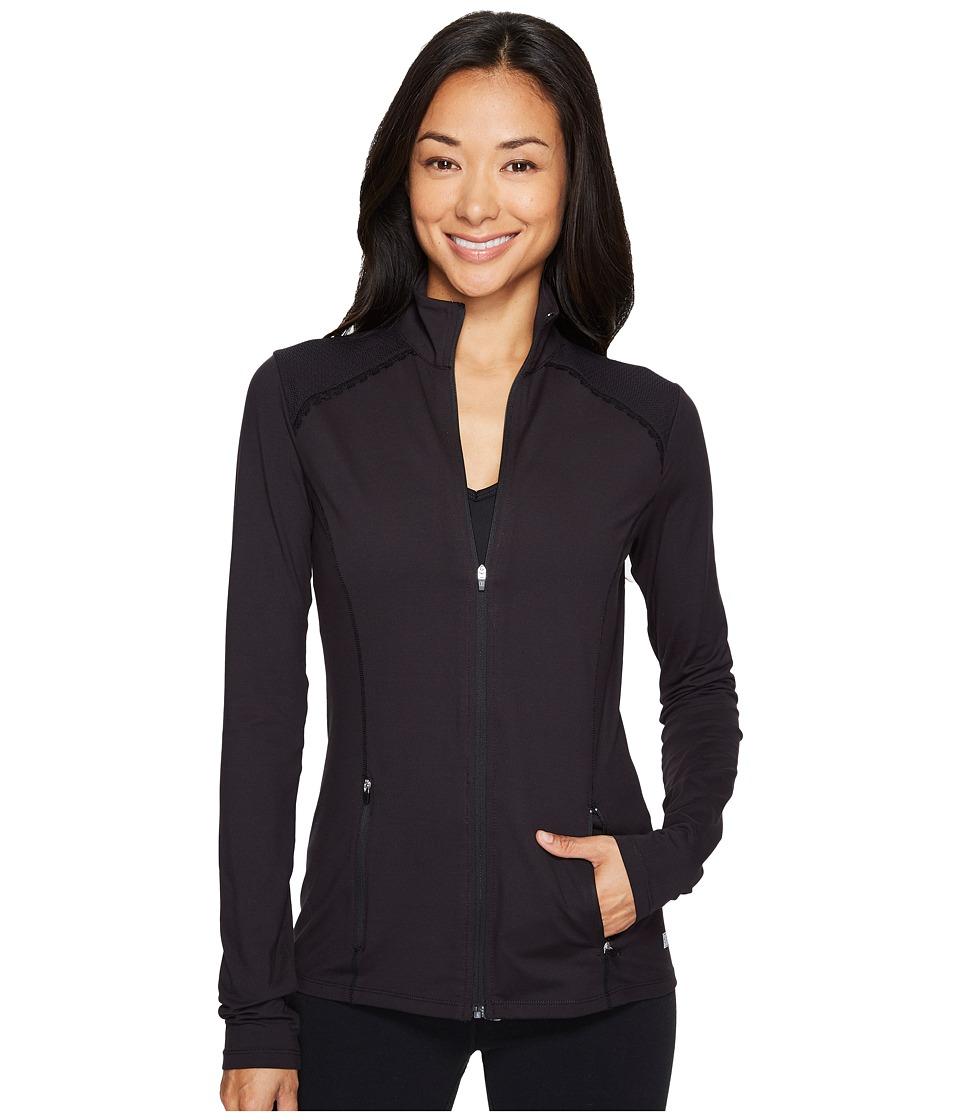 Ivanka Trump Active Zip-Up Jacket with Mesh Shoulder Patch (Black) Women