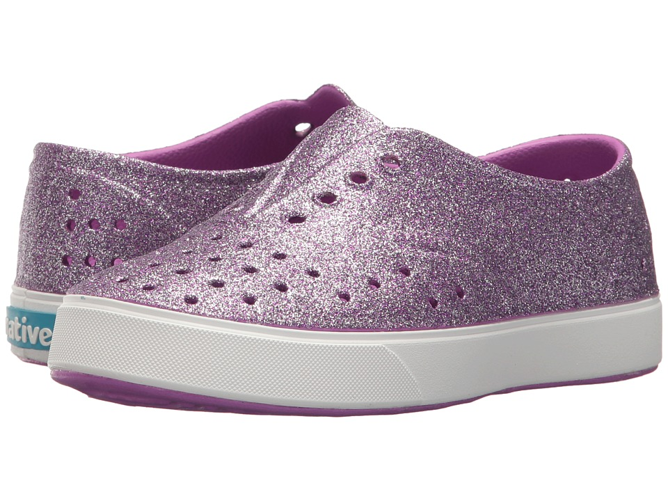 Native Kids Shoes Miller Bling (Little Kid) (Peace Purple Bling/Shell White) Girl's Shoes