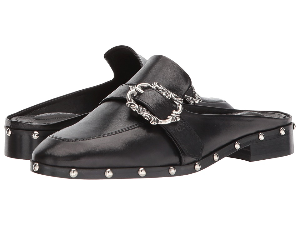 The Kooples - Leather Mules (Black) Womens Flat Shoes