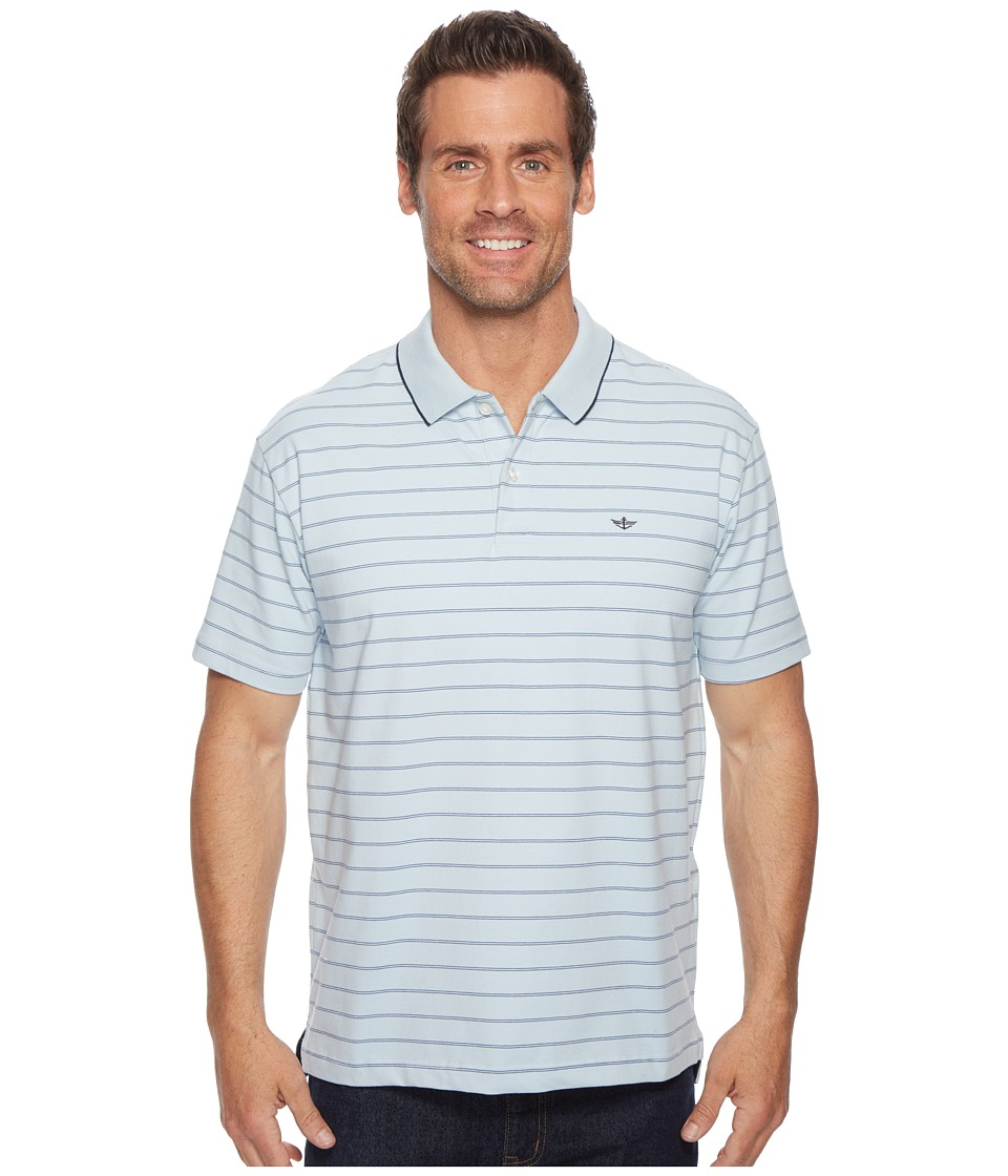 Dockers - Mauldin Stripe Signature Polo (Skyway/Sunset Blue/Paper White) Mens Clothing