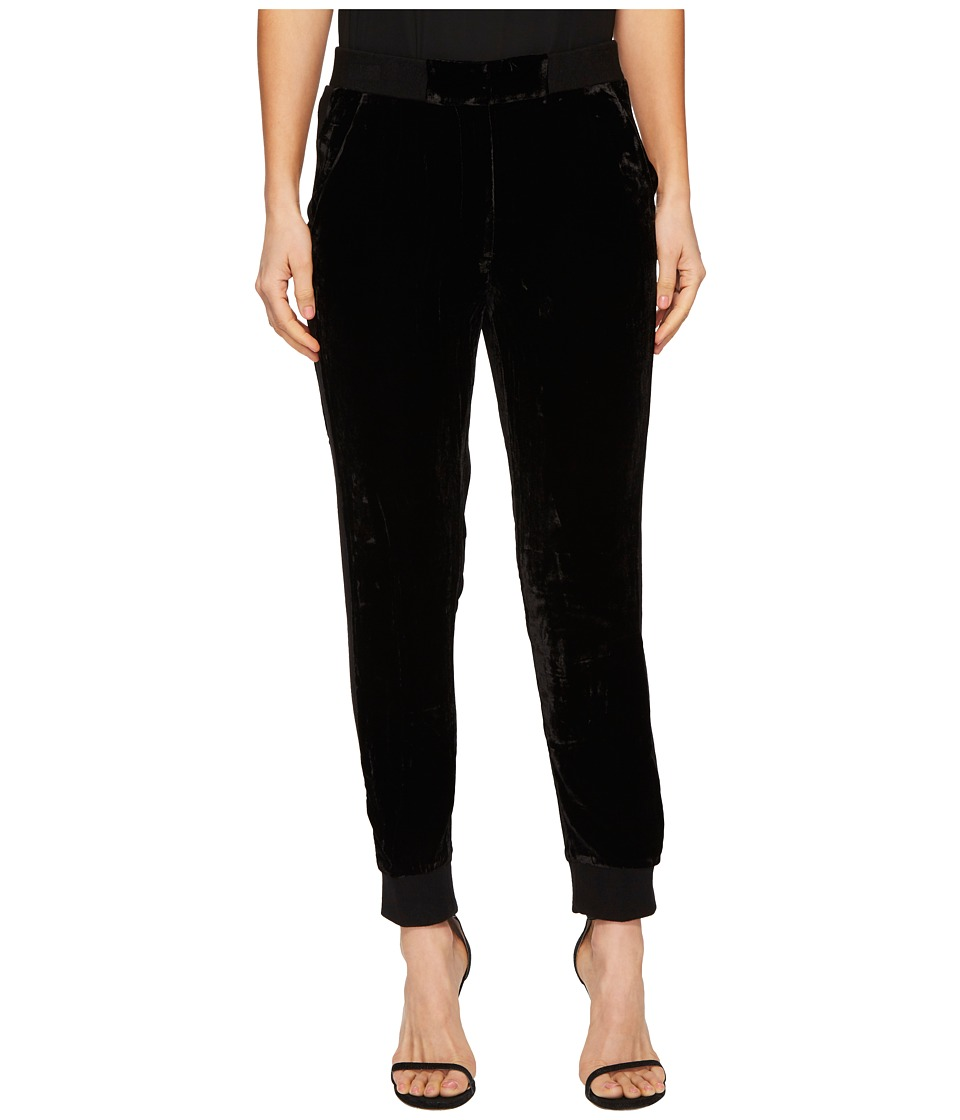 The Kooples - Velvet High-Waisted Trousers with Ribbed Ed...