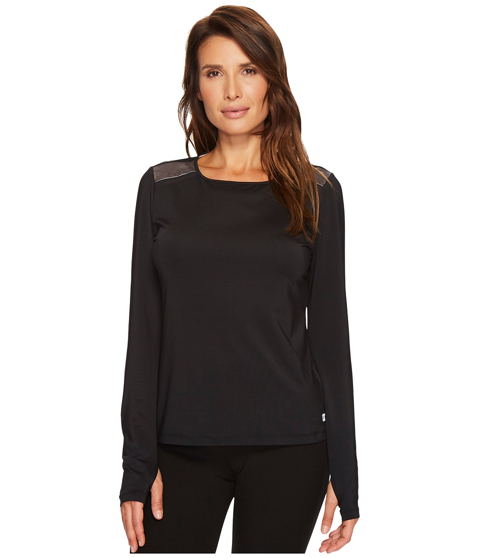 Ivanka Trump Knit Shoulder Colorblock Top (Black/Bronze) Women