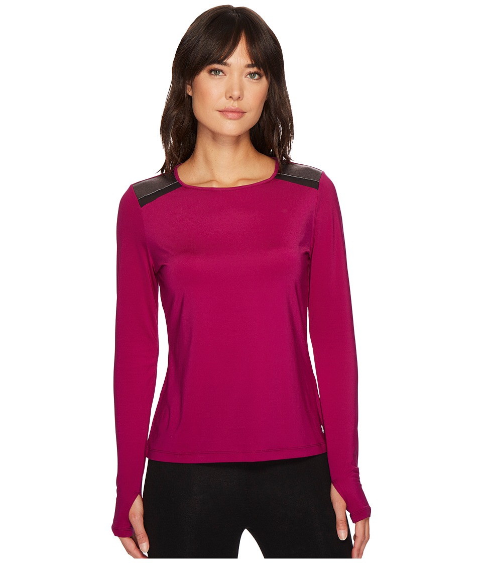 Ivanka Trump Knit Shoulder Colorblock Top (Berry/Bronze) Women