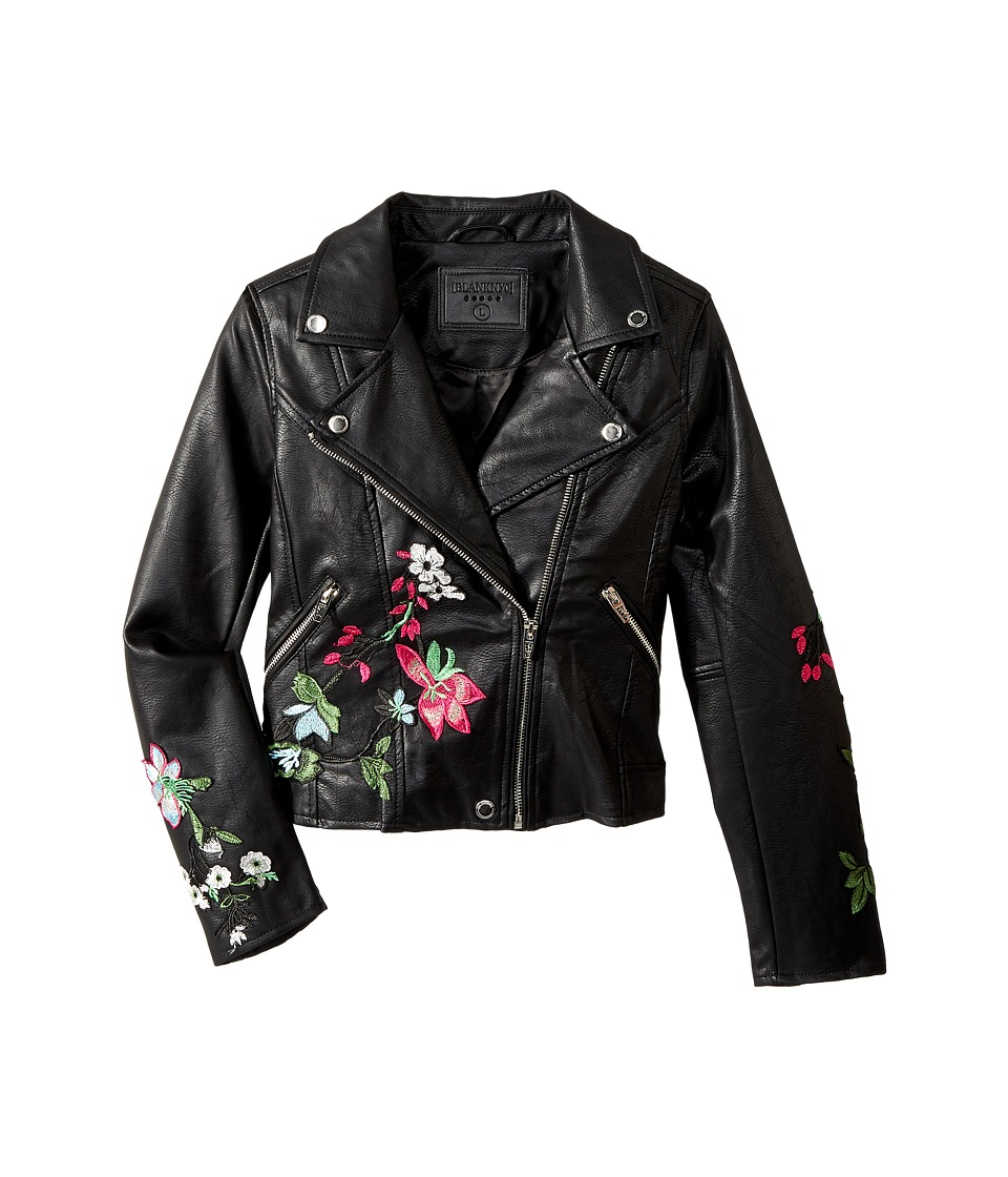 Blank NYC Kids - Embroidered Vegan Leather Moto Jacket in Flower Child