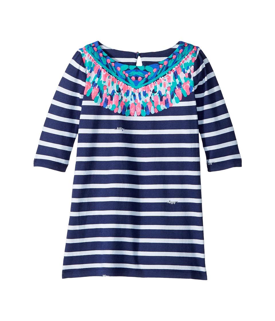 Lilly Pulitzer Kids Bay Dress (Toddler/Little Kids/Big Kids) (Bright Navy/Island Medallion Stripe Eng Little Bay) Girl