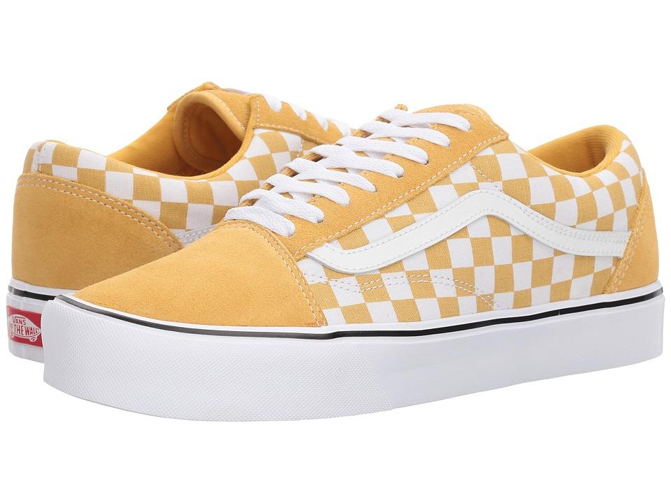Mens Vintage Style Shoes| Retro Classic Shoes Vans - Old Skool Lite SuedeCanvas OchreTrue White Skate Shoes $65.00 AT vintagedancer.com