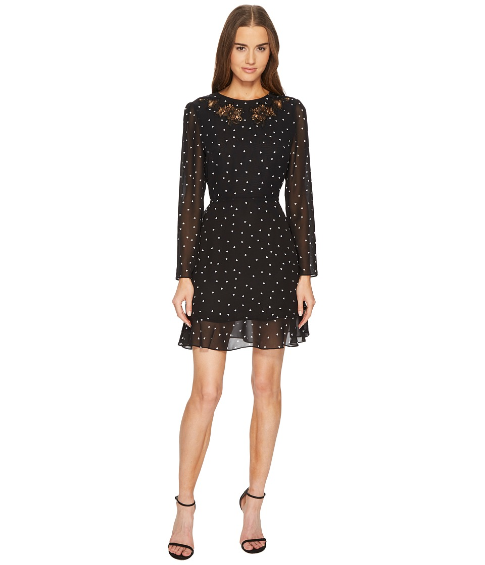 The Kooples - China Crepe Dress with A Queen of Hearts Print (Black) Womens Dress