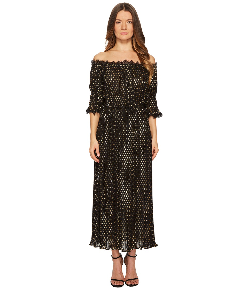 The Kooples - Long Polka-Dot Print Dress (Black) Womens Dress