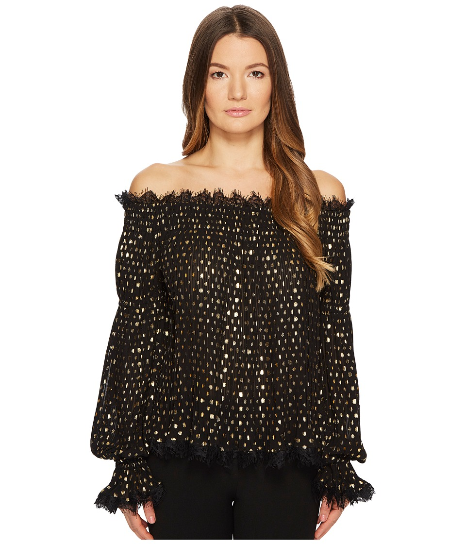 The Kooples - Golden Polka-Dot Top with Bare Shoulders (Black) Womens Blouse