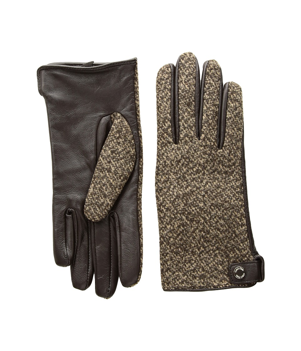 Calvin Klein Woven/Leather Mix Gloves (Chocolate) Extreme Cold Weather Gloves