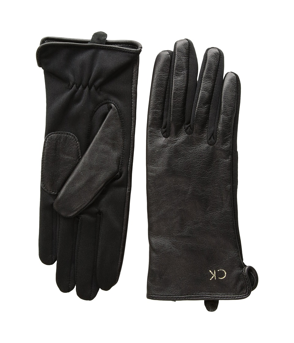 Calvin Klein Leather Gloves w/ Knit Tonal Palm (Black) Extreme Cold Weather Gloves
