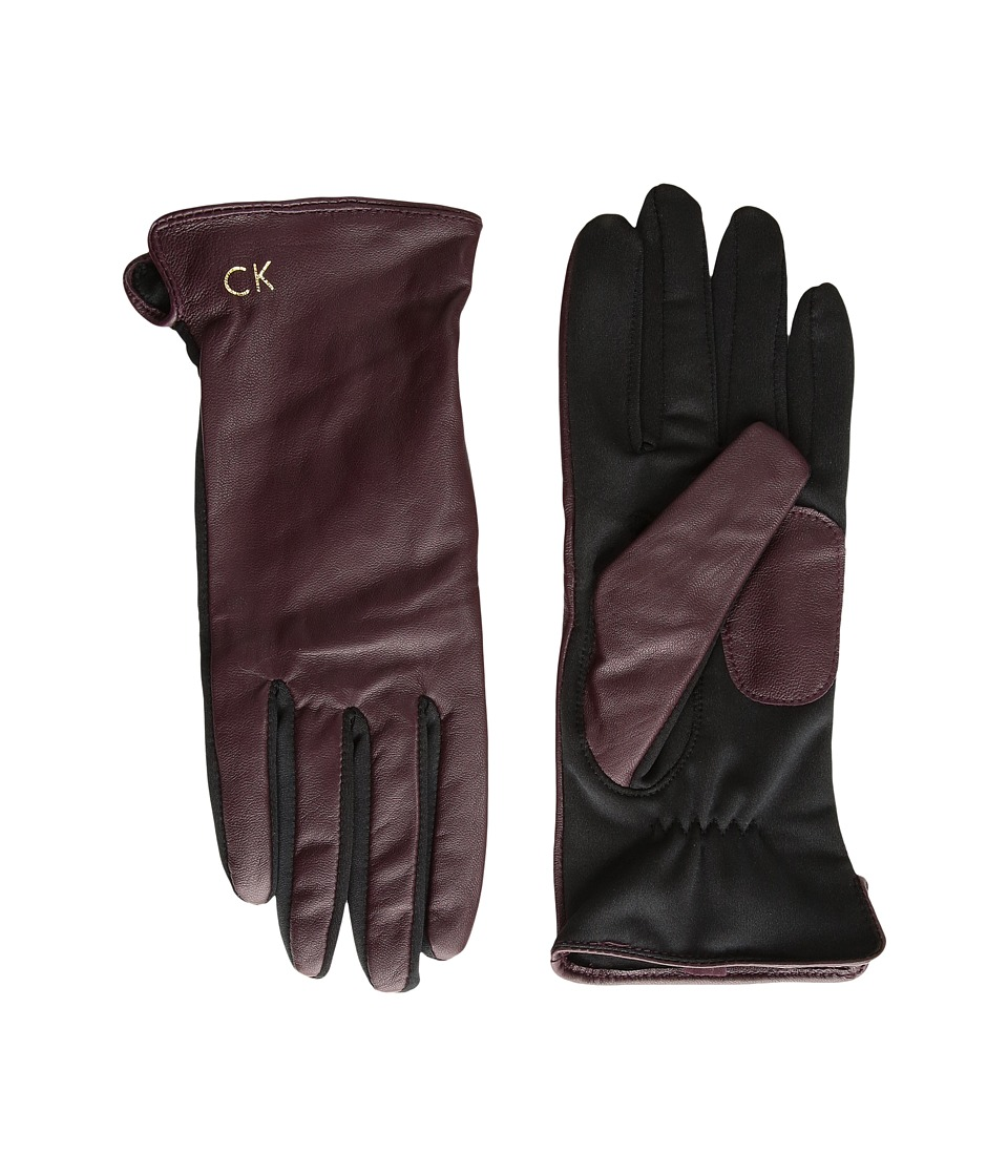 Calvin Klein Leather Gloves w/ Knit Tonal Palm (Aubergine) Extreme Cold Weather Gloves