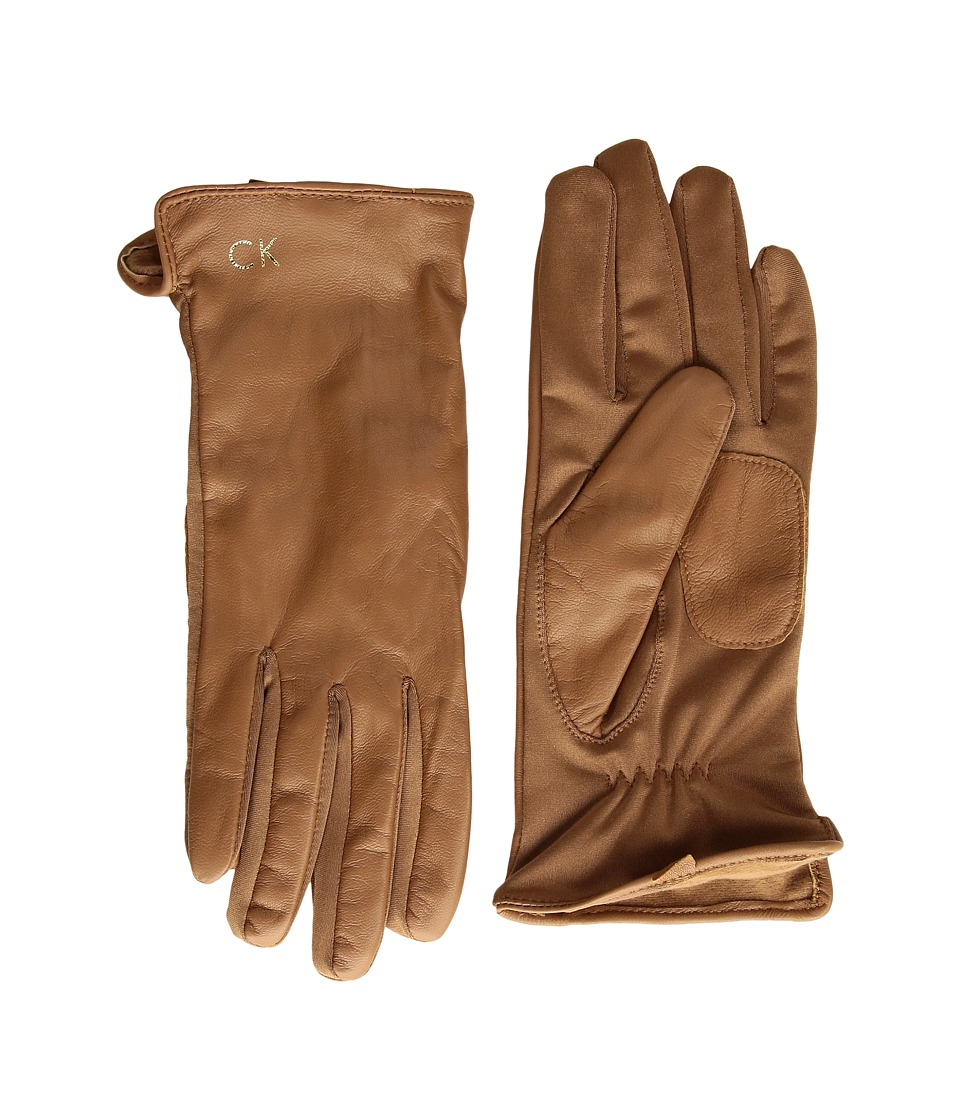 Calvin Klein Leather Gloves w/ Knit Tonal Palm (Camel) Extreme Cold Weather Gloves