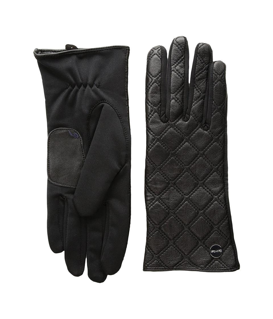 Calvin Klein Quilted Zipper Gloves (Black) Extreme Cold Weather Gloves