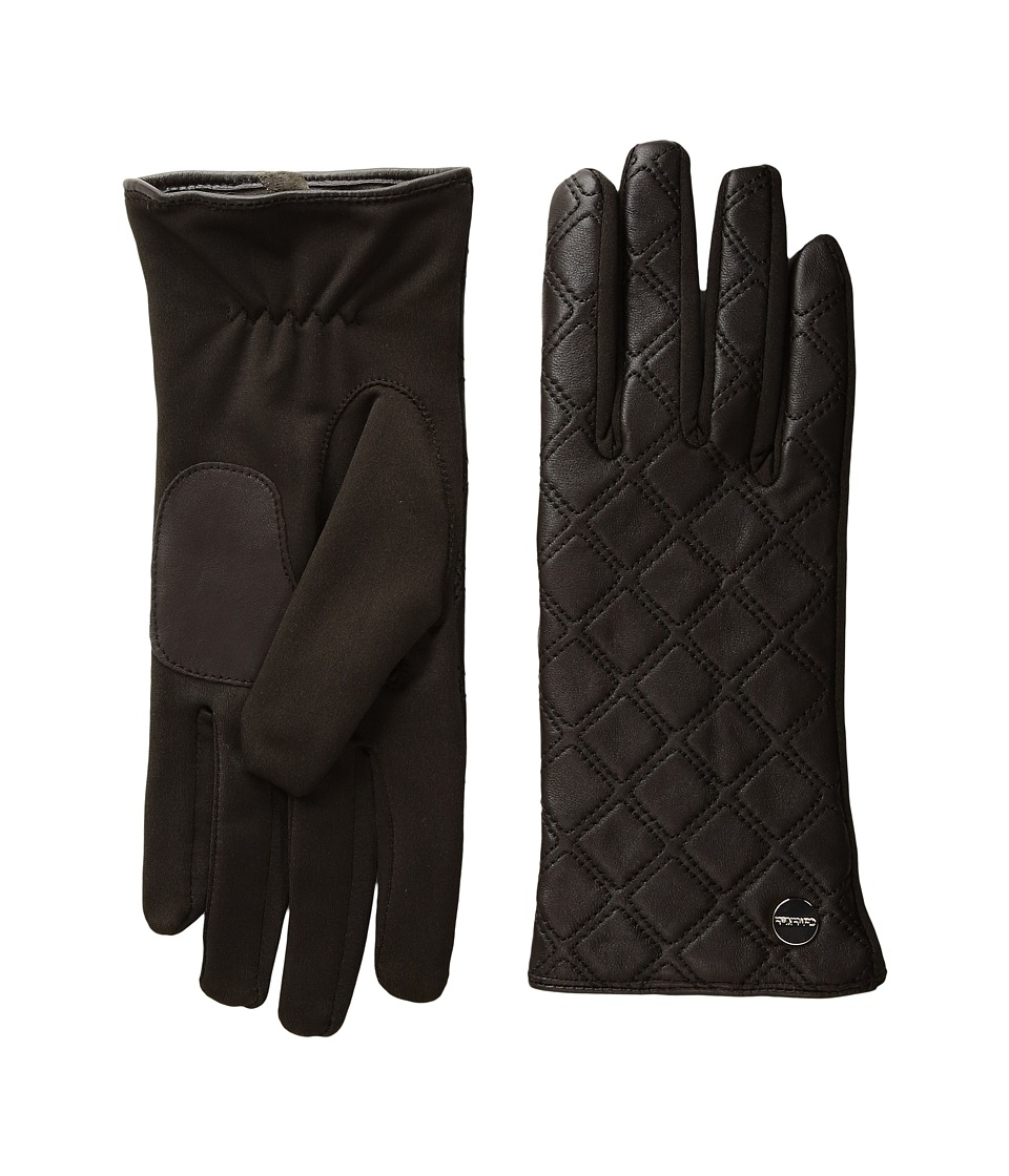 Calvin Klein Quilted Zipper Gloves (Chocolate) Extreme Cold Weather Gloves