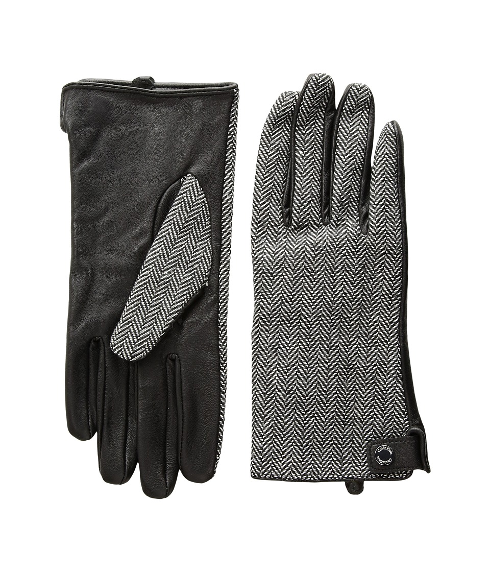 Calvin Klein Leather Palm Herringbone Gloves (Black) Extreme Cold Weather Gloves