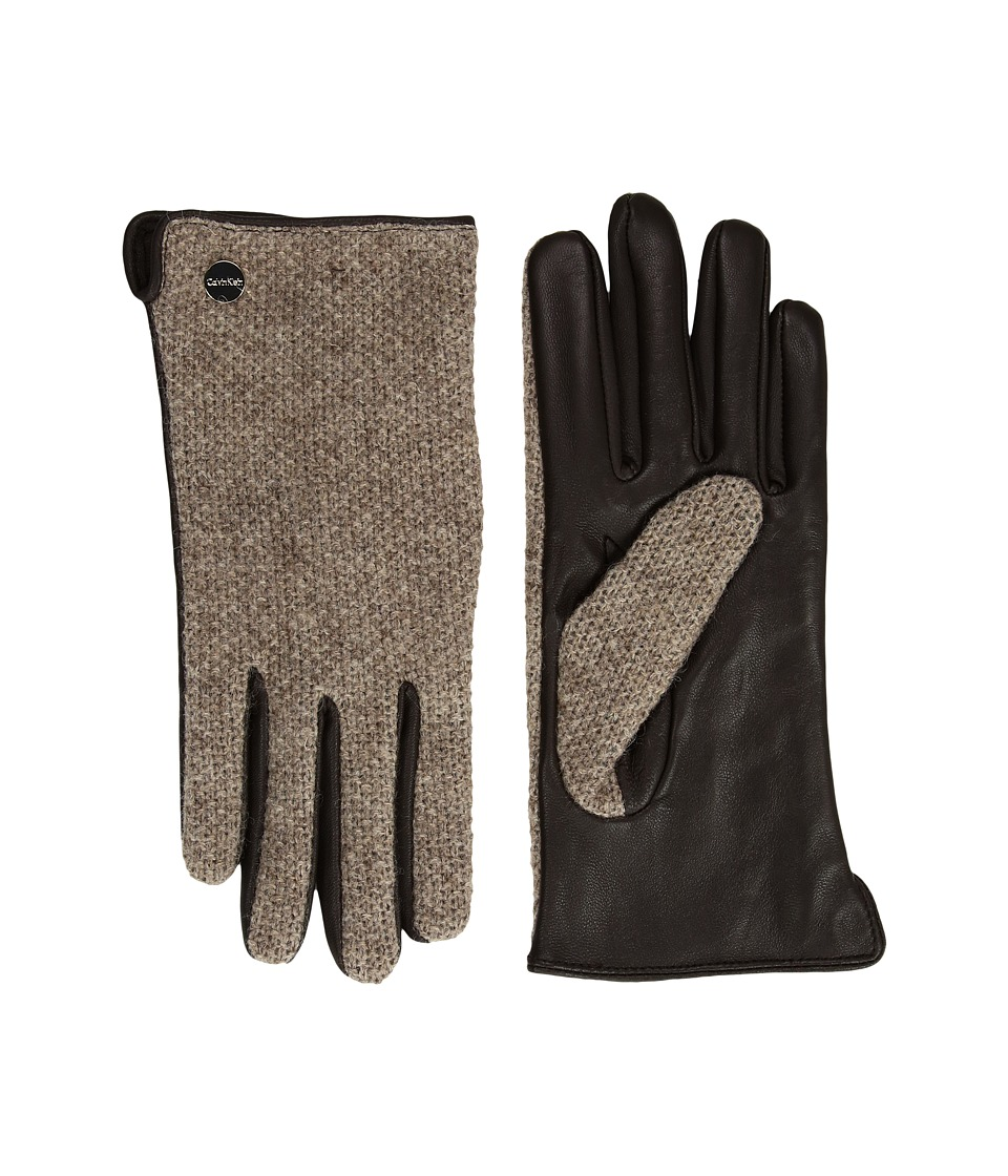Calvin Klein Knit and Leather Gloves (Chocolate) Extreme Cold Weather Gloves