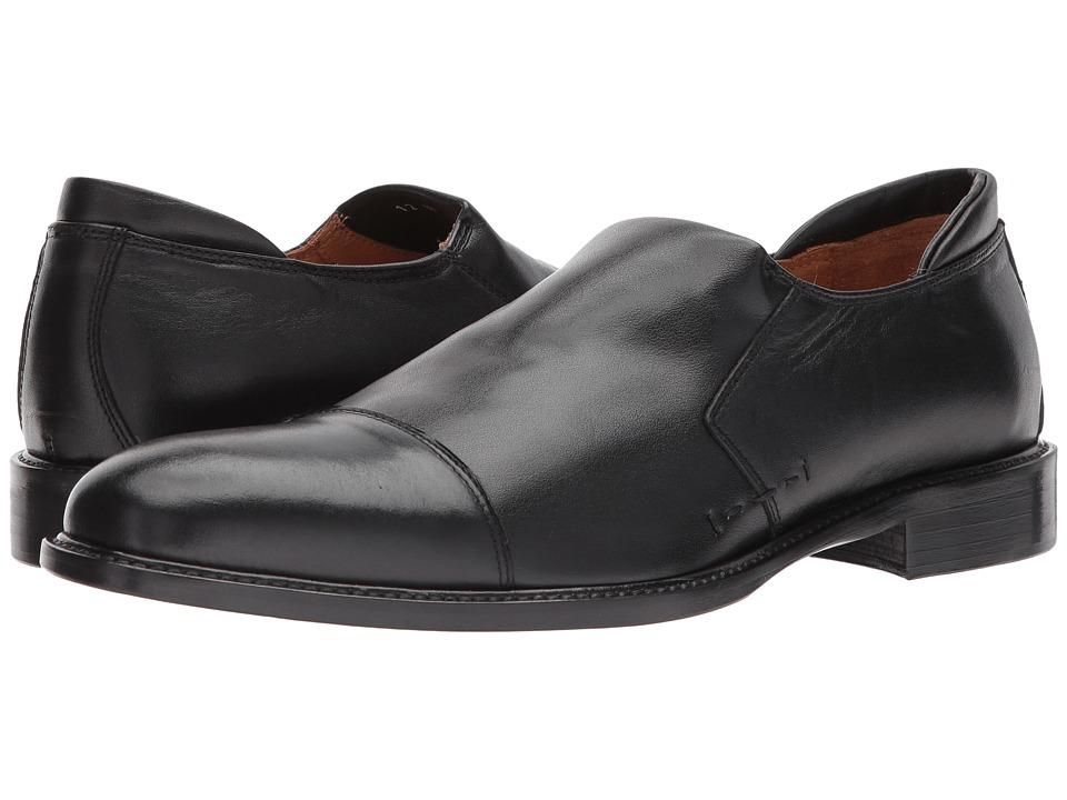 Right Bank Shoe Cotm - Idris Stretch Calf Loafer (Black) Mens Slip on  Shoes