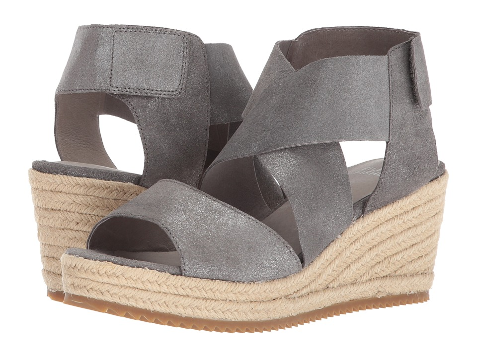 Eileen Fisher - Willow 3 (Pewter Metallic Suede) Womens Wedge Shoes