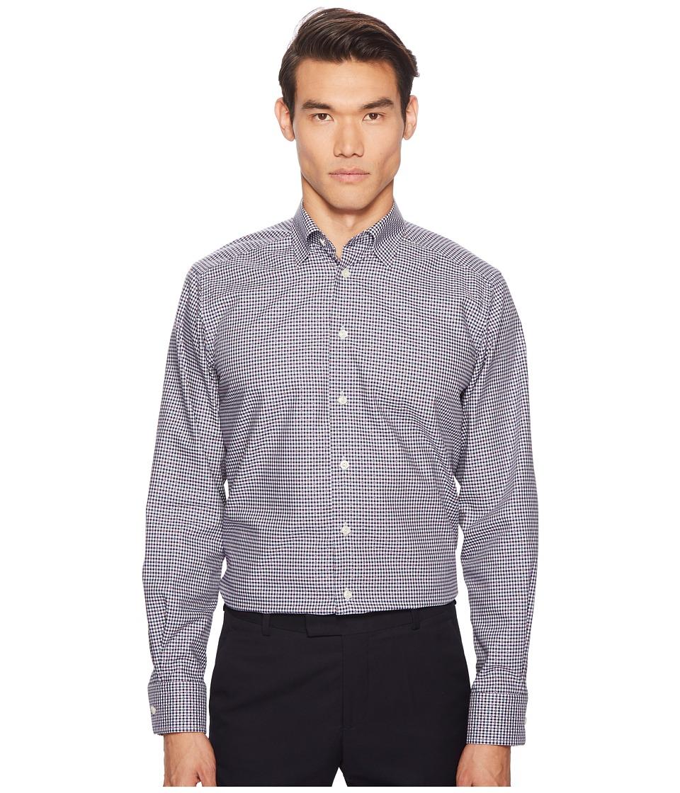 Eton - Contemporary Fit Multi Dot Plaid Shirt (Blue) Mens Long Sleeve Button Up