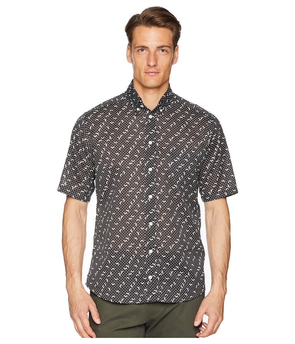 Eton - Slim Fit Polka Dot Banana Shirt (Black) Mens Long Sleeve Button Up