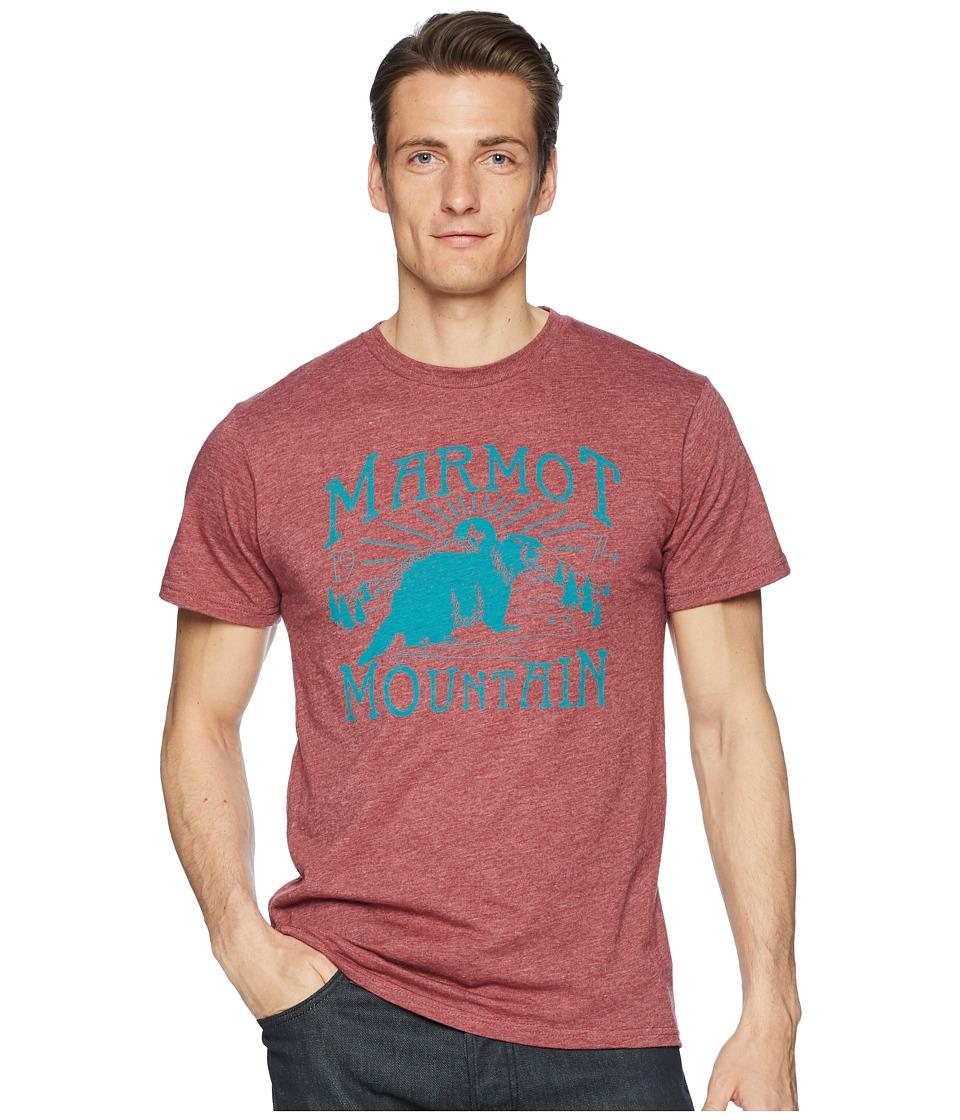 Marmot - Short Sleeve Sunrise Tee (Burgundy Heather) Mens T Shirt