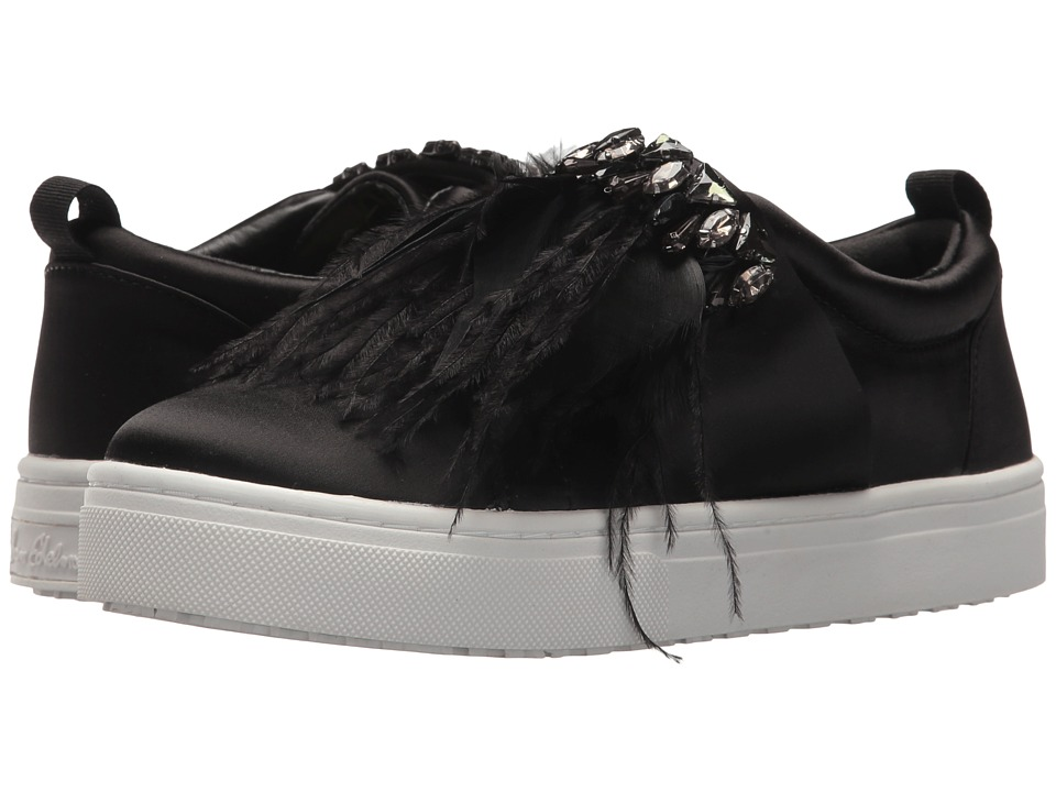 Sam Edelman - Lelani (Black Crystal Satin/Feather) Womens Slip on  Shoes
