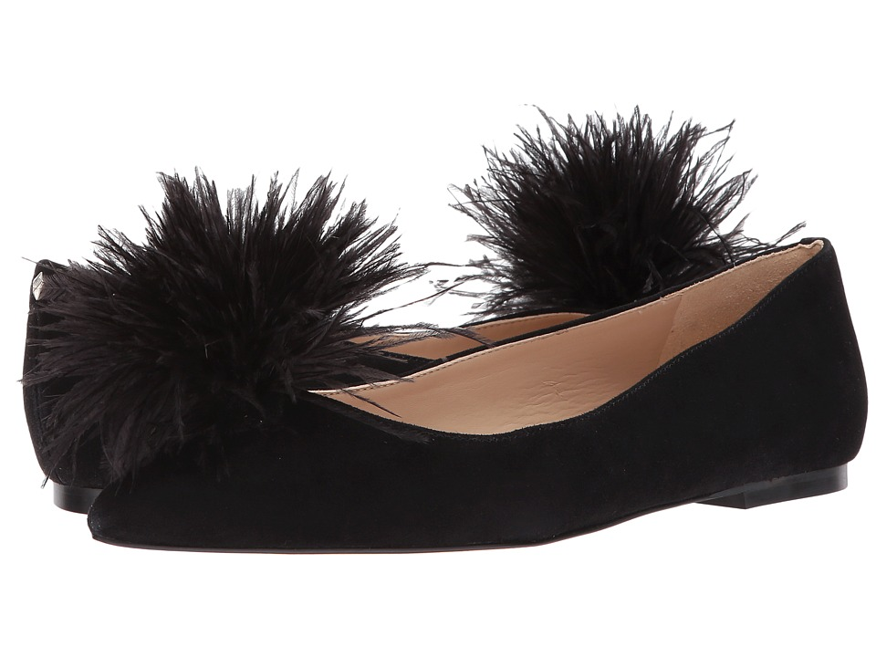 Sam Edelman - Reina (Black Kid Suede Leather) Womens Dress Flat Shoes