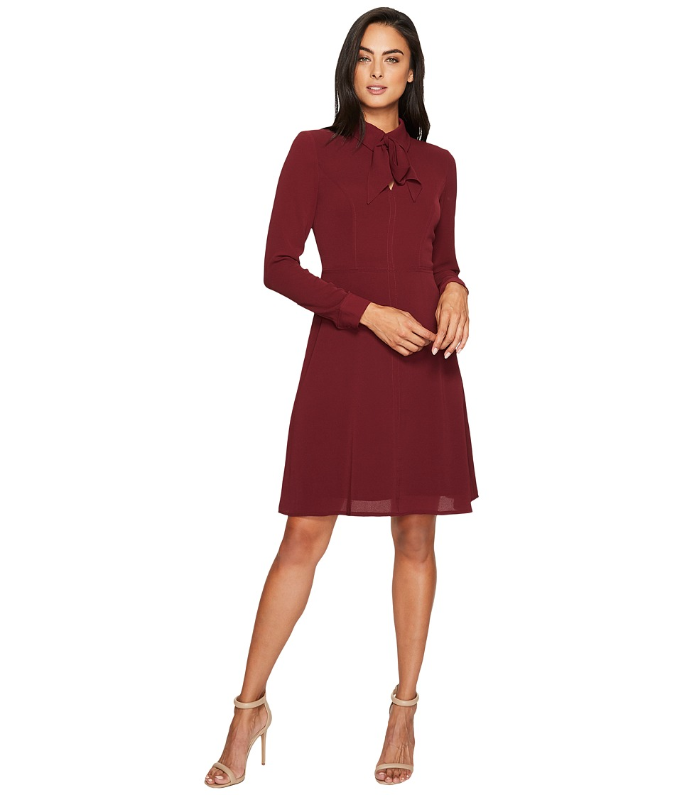 Maggy London Catalina Crepe Fit and Flare with Tie Neck (Wine) Women