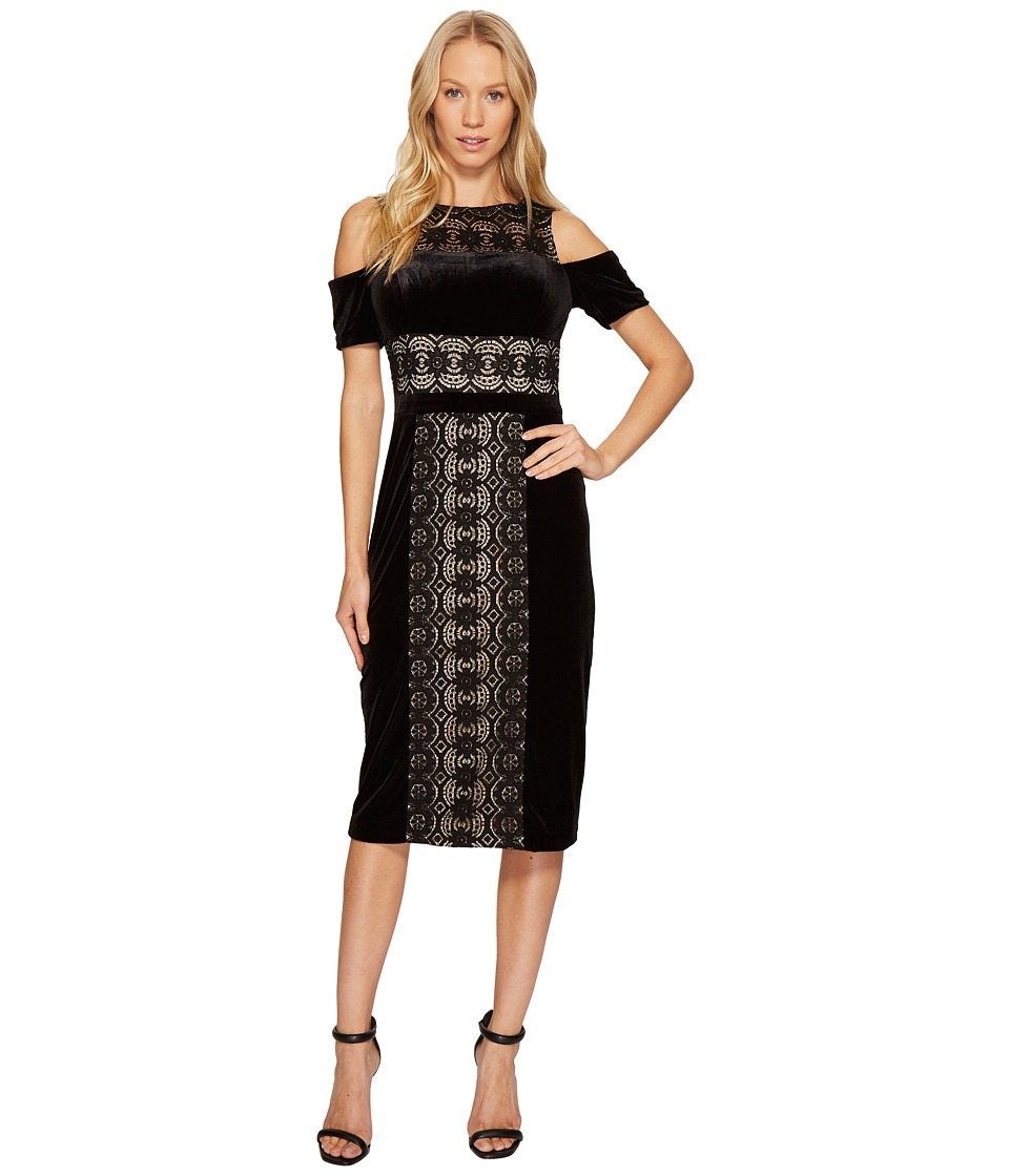 Maggy London - Velvet and Lace Cold Shoulder Sheath